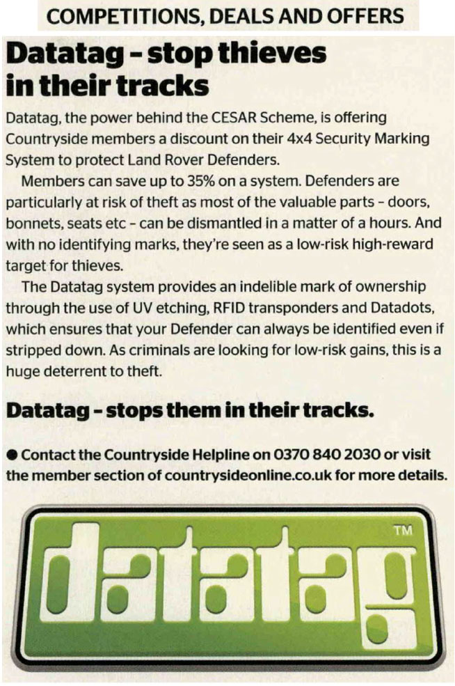 NFU COUNTRYSIDE ONLINE NEWS ARTICLE 4x4 SECURITY MARKING MEMBERS